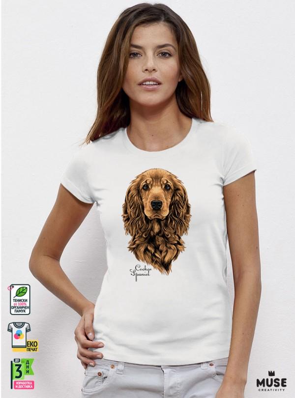 Cocker Spaniel Dog Дамска Бяла Тениска с Дизайнерски Принт