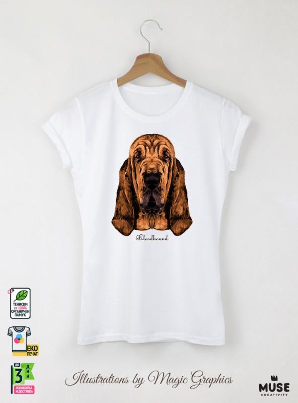 Blood Hound Дамска Бяла Тениска с Дизайнерски Принт