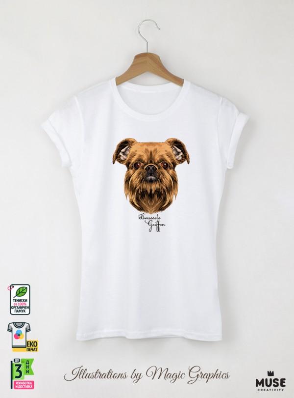 Brussels Griffon Dog Дамска Бяла Тениска с Дизайнерски Принт