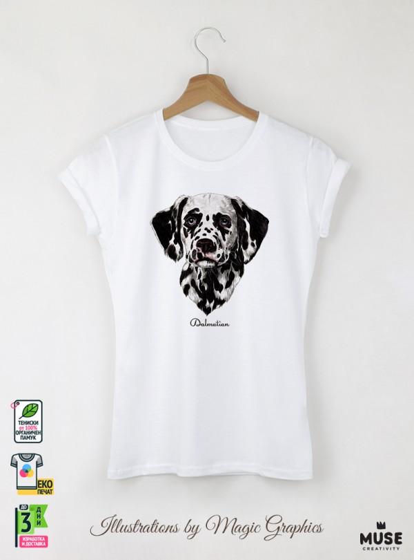 Dalmatian Dog Дамска Бяла Тениска с Дизайнерски Принт