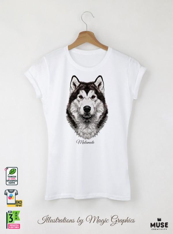 Malamute Dog Дамска Бяла Тениска с Дизайнерски Принт