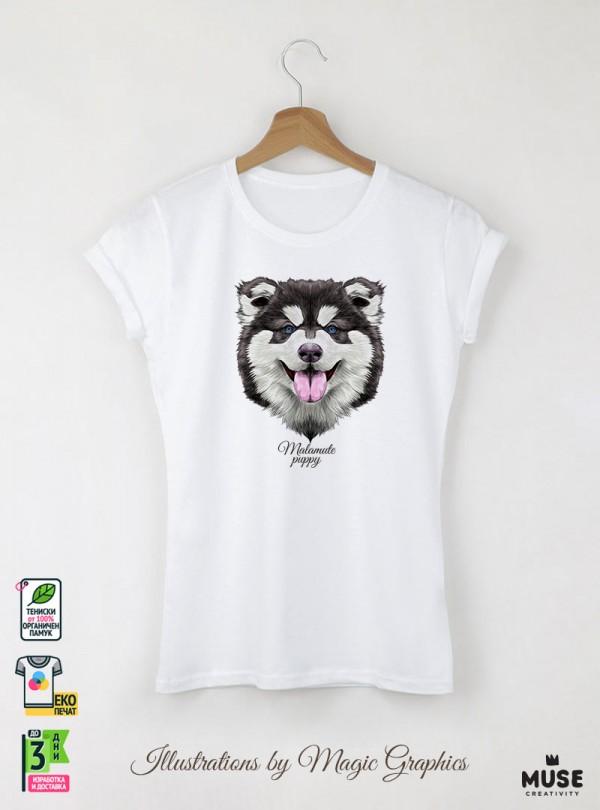 Malamute Puppy Dog Дамска Бяла Тениска с Дизайнерски Принт