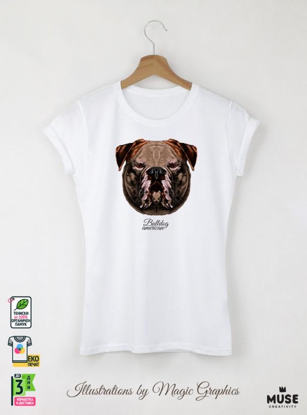 Bulldog American Дамска Бяла Тениска с Дизайнерски Принт