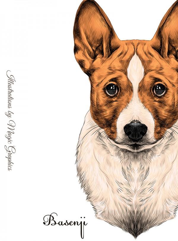 Basenji Dog Дамска Бяла Тениска с дизайнерски принт