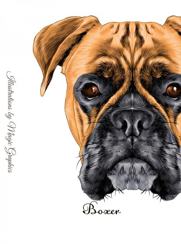 Boxer Dog Дамска Бяла Тениска с Дизайнерски Принт