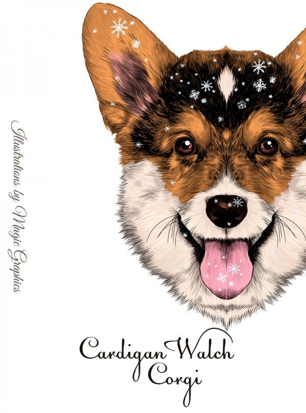 Cardigan Walch Corgi Мъжка Бяла Тениска С Дизайнерски Принт