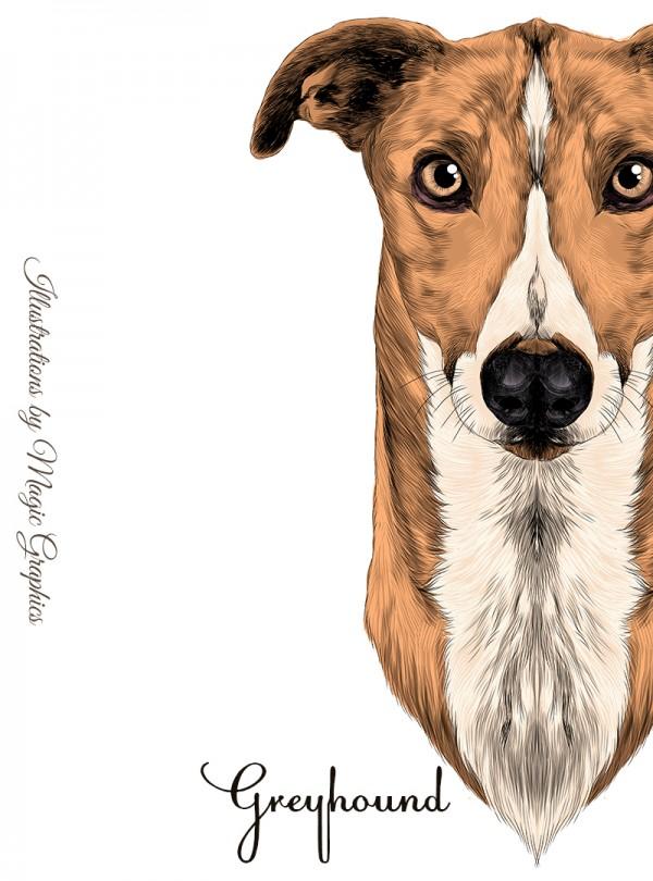 Grey Hound Dog Дамска Бяла Тениска с Дизайнерски Принт