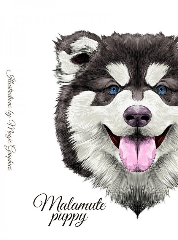 Malamute Puppy Dog Мъжка Бяла Тениска С Дизайнерски Принт