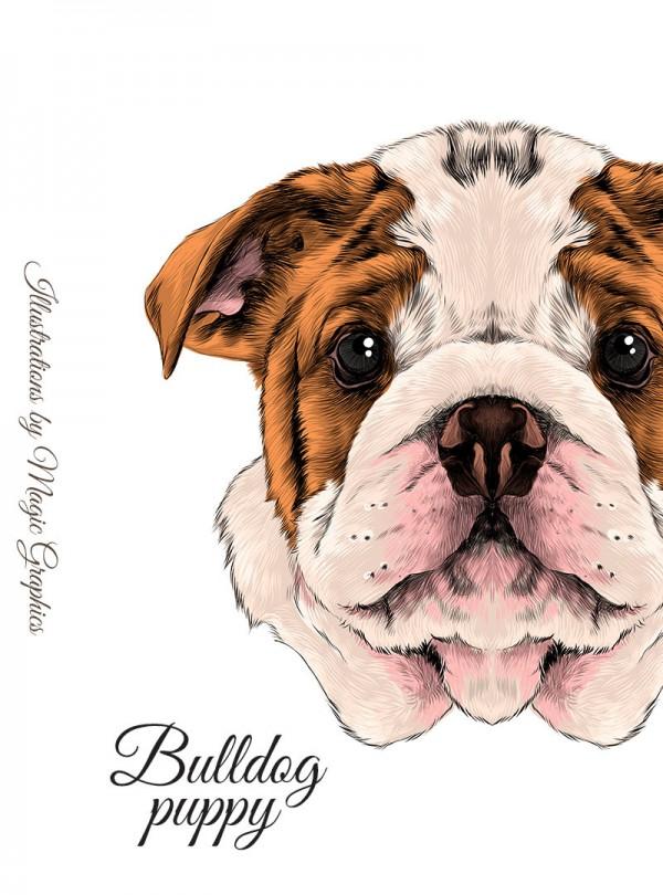 Bulldog Puppy Дамска Бяла Тениска с Дизайнерски Принт