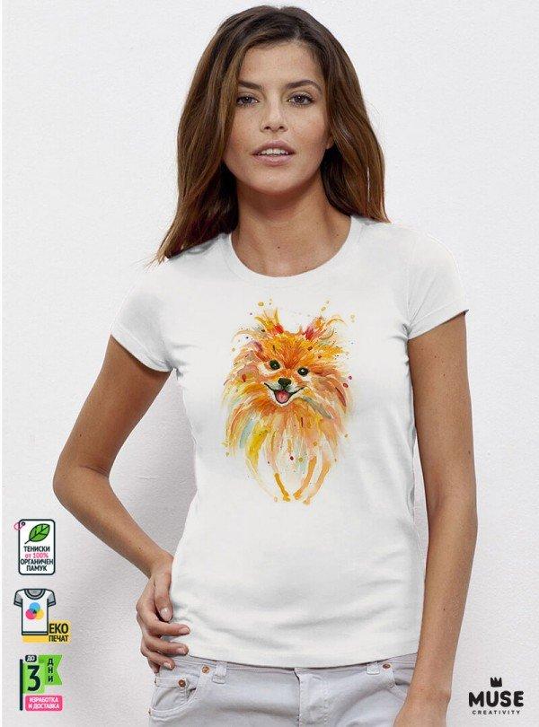 Aquarelle Pomeranian Дамска Бяла Тениска С Дизайнерски Принт