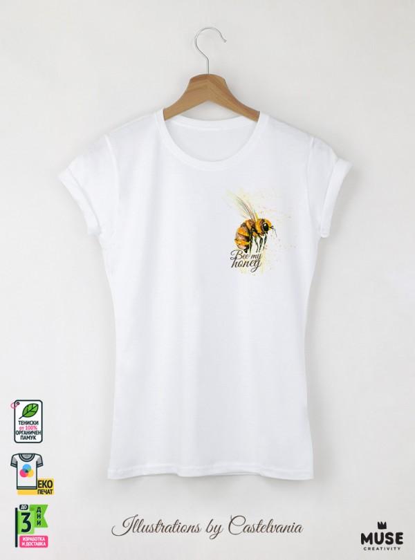 Aquarelle Bee Дамска бяла тениска с дизайнерски принт