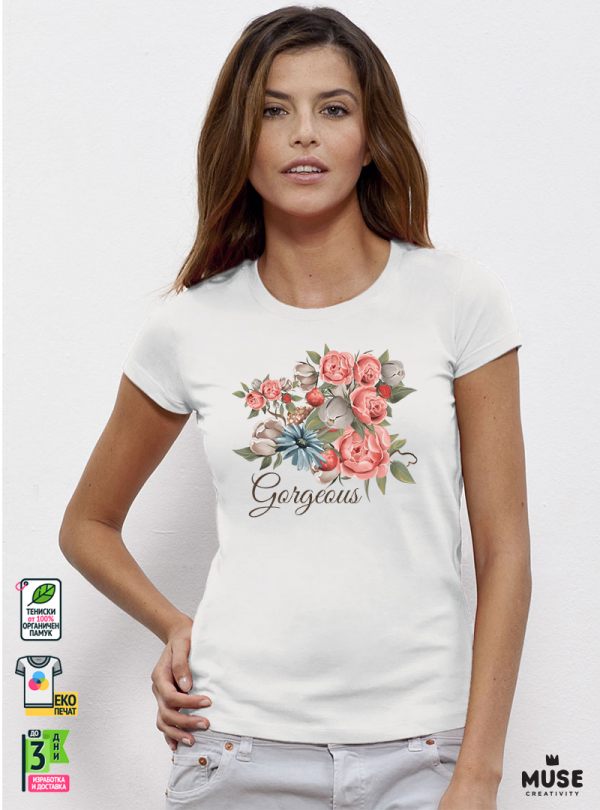 Gorgeous Flowers Дамска Бяла Тениска С Дизайнерски Принт
