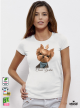 Yorkie Clever Дамска Бяла Тениска С Дизайнерски Принт