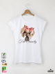 Yorkie Feel Smarty Дамска Бяла Тениска С Дизайнерски Принт
