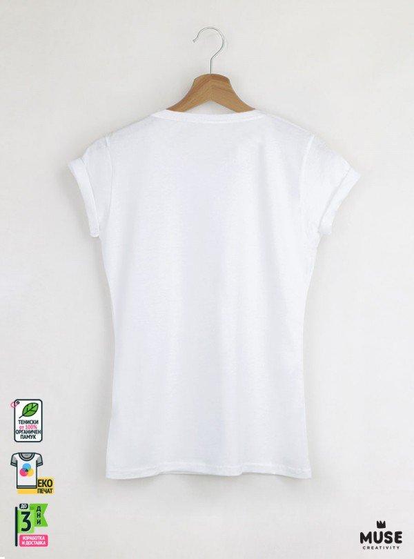 Wasn't Me Cat Дамска Бяла Тениска с дизайнерски принт котки
