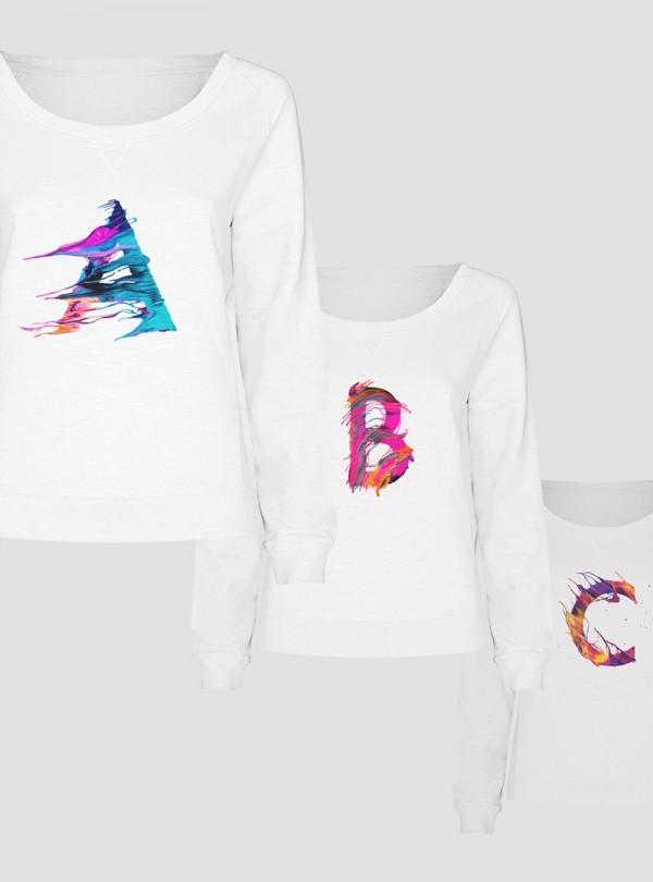 Дамски Снежнобели Блузи с Букви