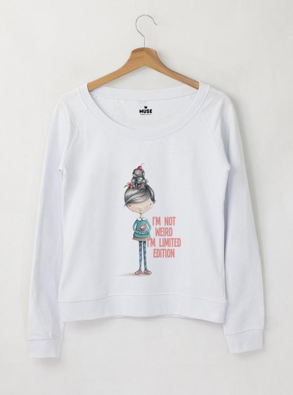 Girl I AM Дамска снежно бяла Блуза с дизайнерски принт
