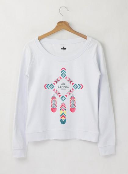 Ethno 8 Акварел - Дамска снежно бяла Блуза с дизайнерски принт