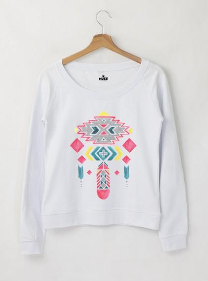 Ethno 9 Акварел - Дамска снежно бяла Блуза с дизайнерски принт