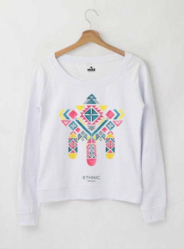 Ethno 10 Акварел - Дамска снежно бяла Блуза с дизайнерски принт