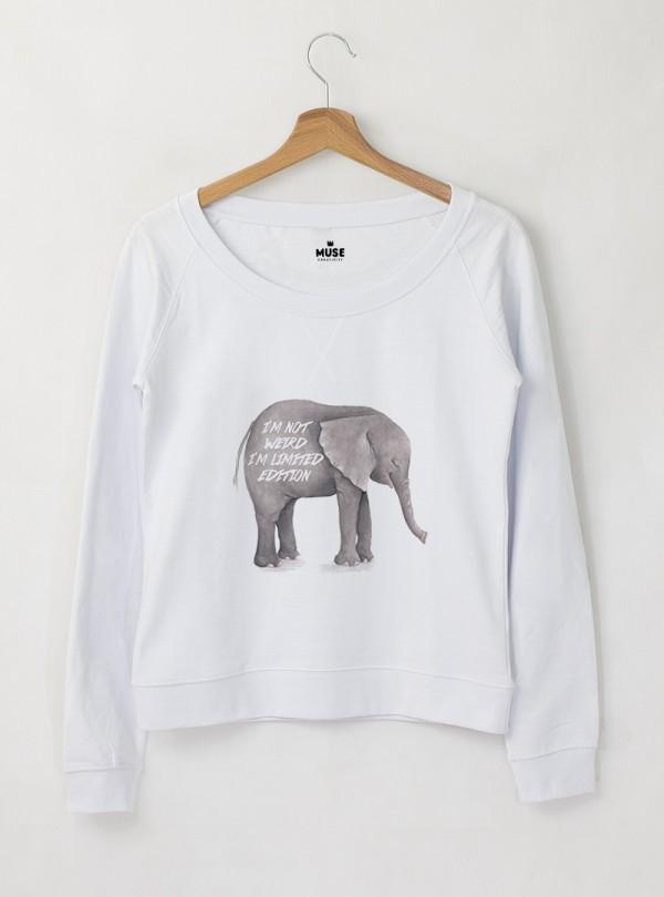 Elephant I AM Дамска снежно бяла Блуза с дизайнерски принт