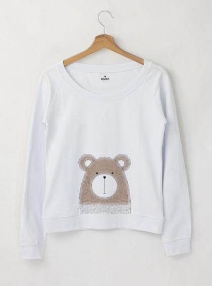 Bear Дамска снежно бяла Блуза с дизайнерски принт