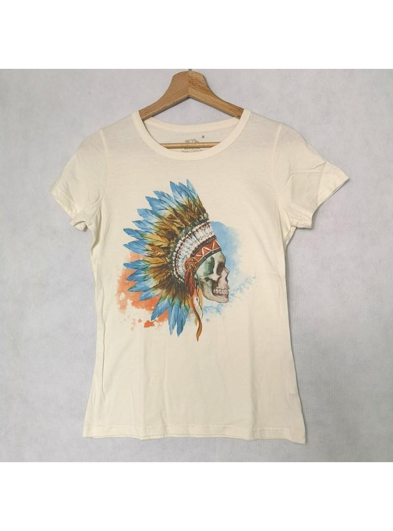 Skull Aquarelle Natural Дамска Тениска От Органичен Памук С Дизайнерски Принт