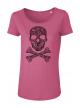 Camelia Pink Skull Дамска Тениска От Органичен Памук И Модал С Дизайнерски Принт
