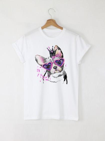 Aquarelle King Dog  Дамска бяла тениска с дизайнерски принт