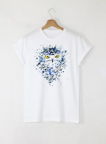 Aquarelle White Owl Дамска бяла тениска с дизайнерски принт