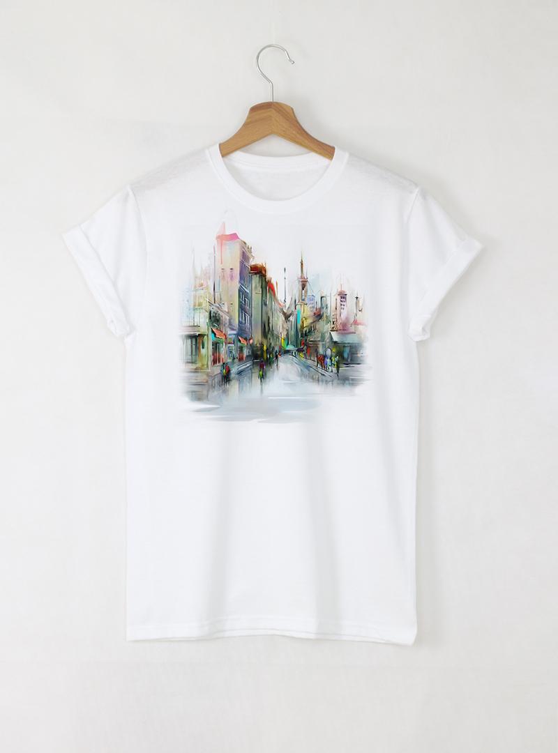 Aquarelle Town Мъжка Бяла Тениска с Дизайнерски Принт