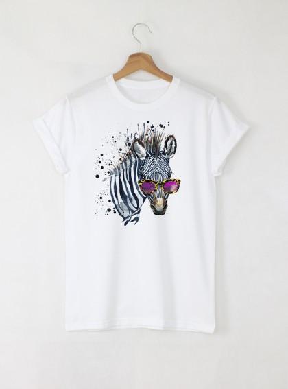 Aquarelle Zebra Дамска бяла тениска с дизайнерски принт