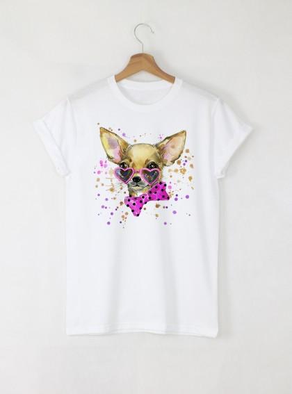 Aquarelle Chihuahua Дамска бяла тениска с дизайнерски принт