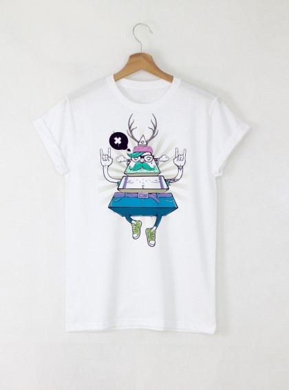 Hipster Peace Мъжка Бяла Тениска с Дизайнерски Принт