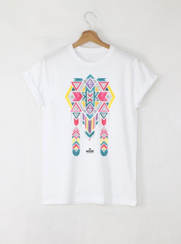 Ethno 11 Акварел Мъжка Бяла Тениска с Дизайнерски Принт