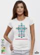 Ethno 01 Акварел Дамска Бяла Тениска с Дизайнерски Принт
