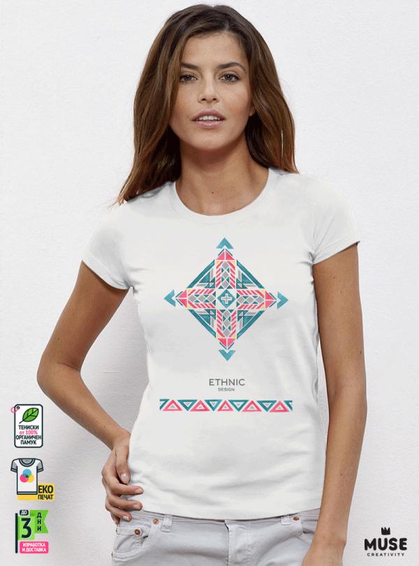 Ethno 02 Акварел Дамска Бяла Тениска с Дизайнерски Принт