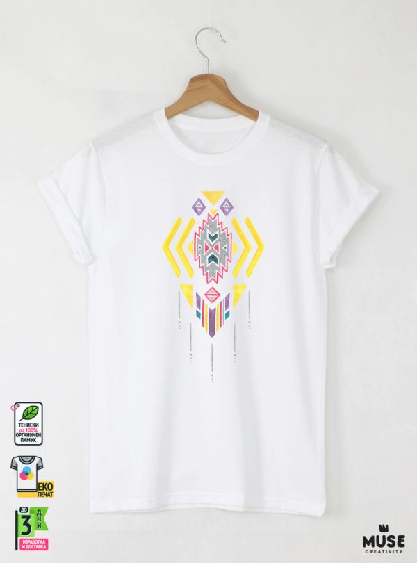 Ethno 04 Акварел Мъжка Бяла Тениска с Дизайнерски Принт
