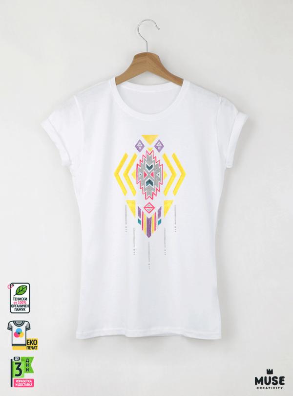Ethno 04 Акварел - Дамска бяла тениска с дизайнерски принт