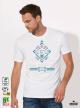 Ethno 05 Акварел Мъжка Бяла Тениска с Дизайнерски Принт
