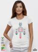 Ethno 06 Акварел - Дамска бяла тениска с дизайнерски принт