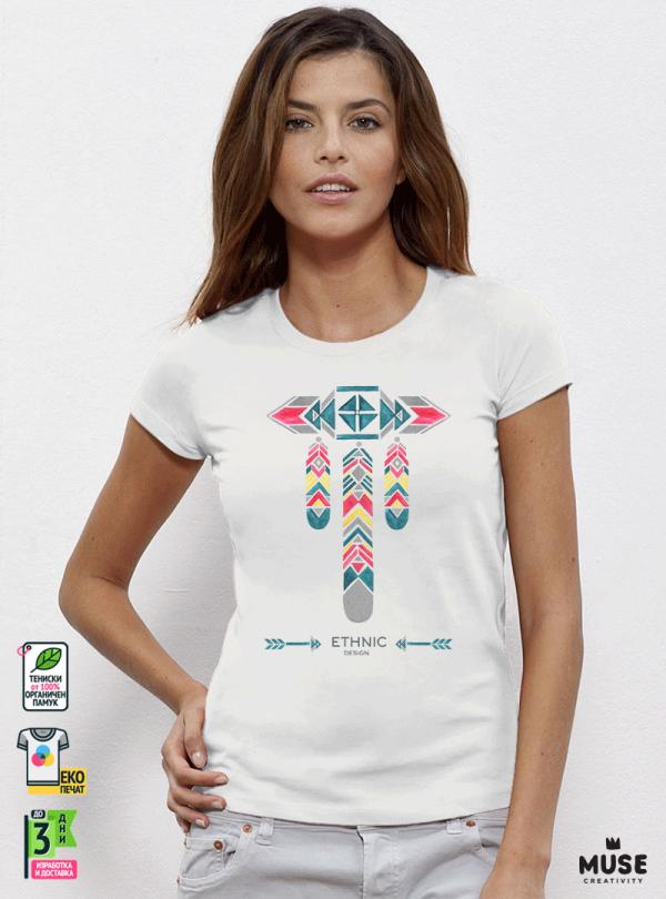 Ethno 07 Акварел - Дамска бяла тениска с дизайнерски принт