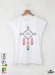Ethno 09 Акварел - Дамска бяла тениска с дизайнерски принт