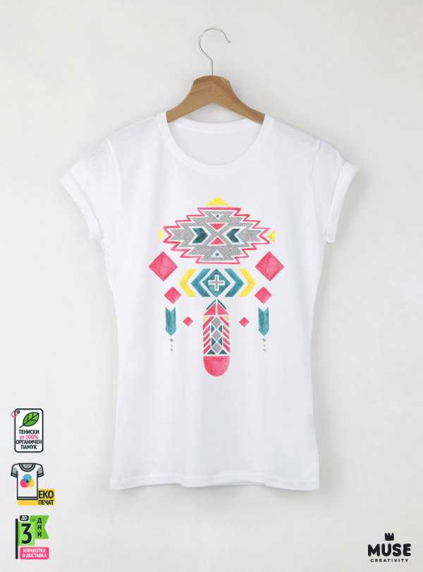 Ethno 10 Акварел - Дамска бяла тениска с дизайнерски принт