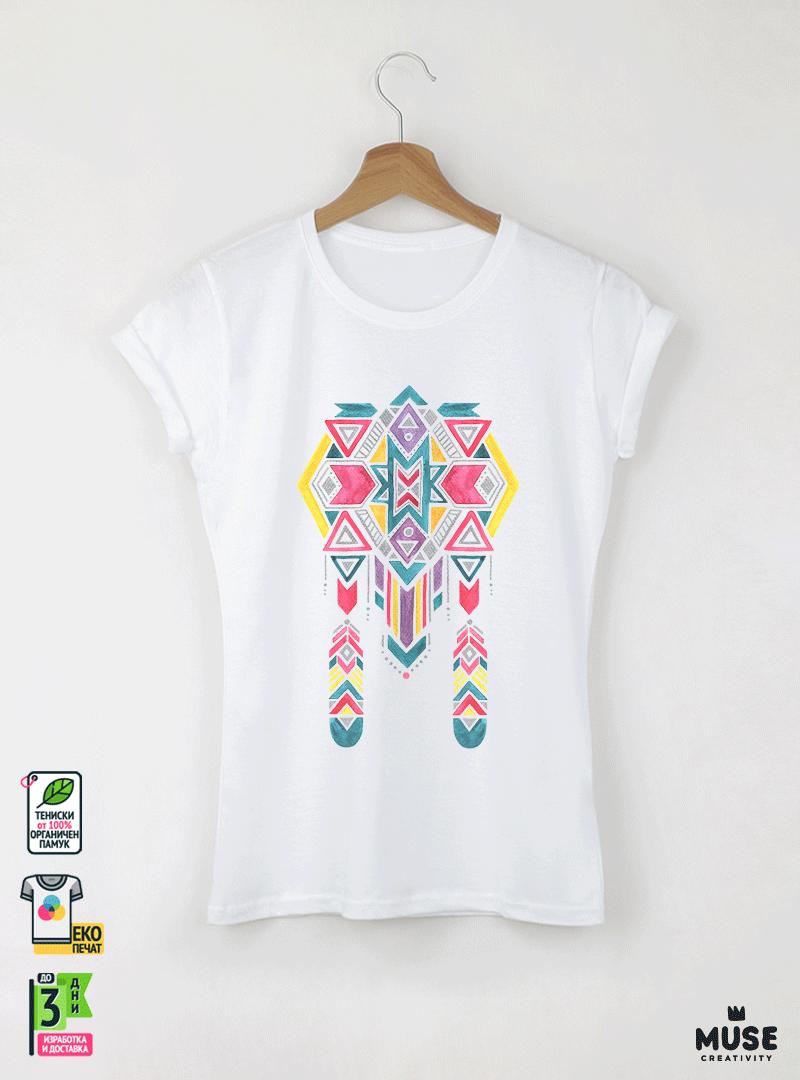Ethno 11 Акварел - Дамска бяла тениска с дизайнерски принт