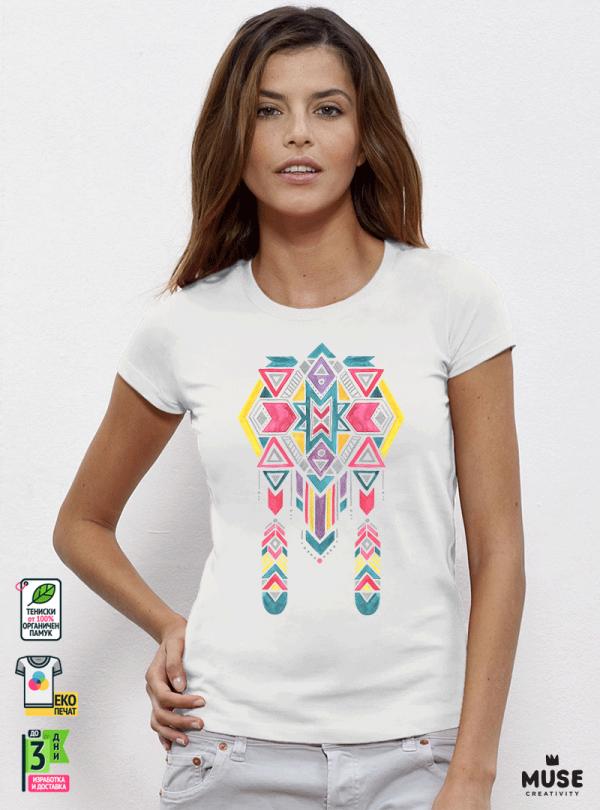 Ethno 11 Акварел - Дамска бяла тениска с дизайнерски принт Азиатски Размер