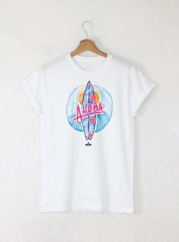 Surf Aloha Дамска бяла тениска с дизайнерски принт