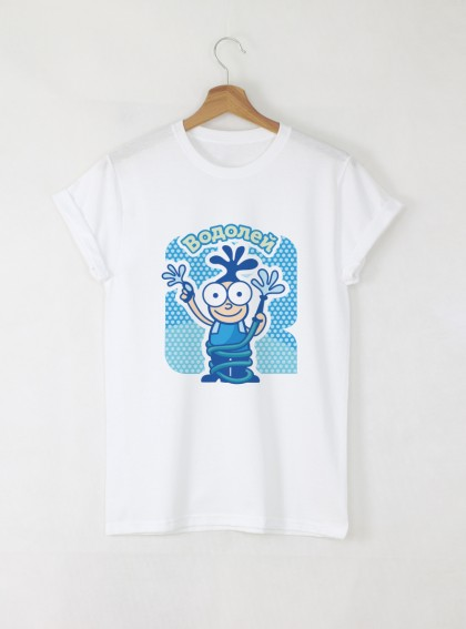 Зодия Водолей Дамска бяла тениска с дизайнерски принт