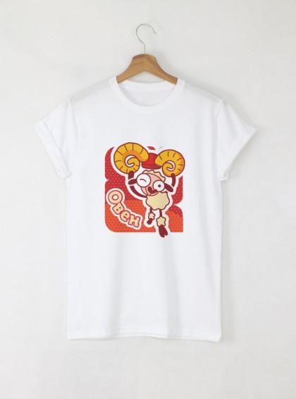 Зодия Овен Дамска бяла тениска с дизайнерски принт