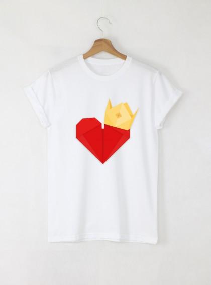 Queen of my heart Дамска бяла тениска с дизайнерски принт